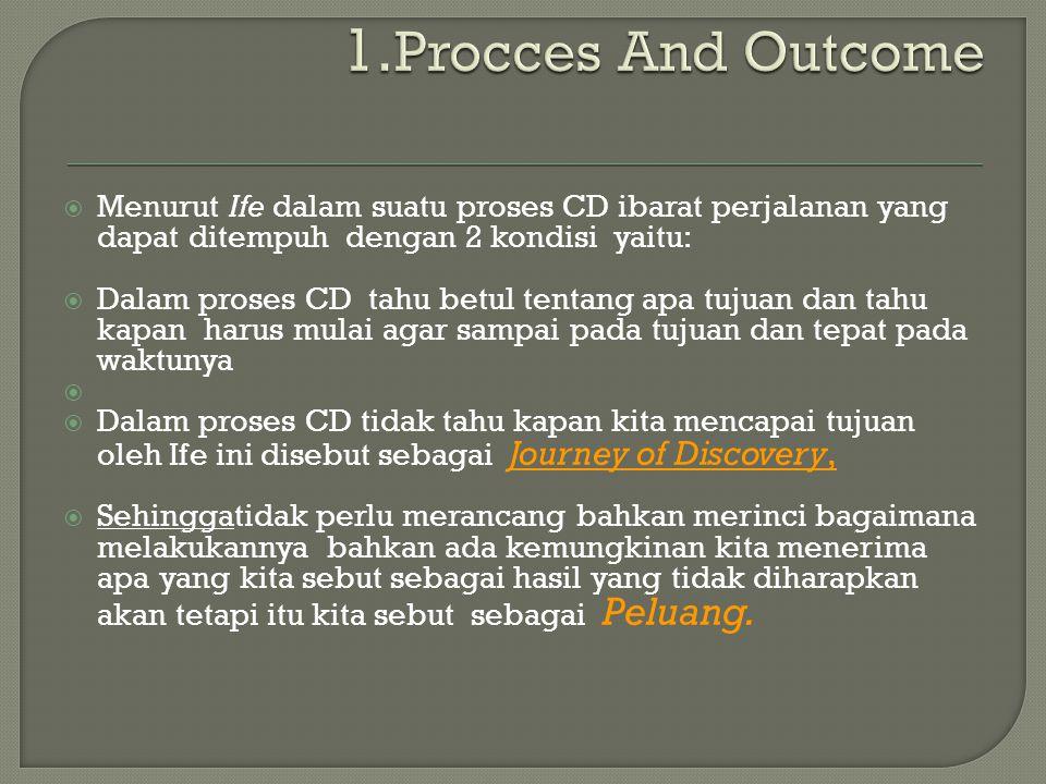 1.Procces And Outcome Menurut Ife dalam suatu proses CD ibarat perjalanan yang dapat ditempuh dengan 2 kondisi yaitu: