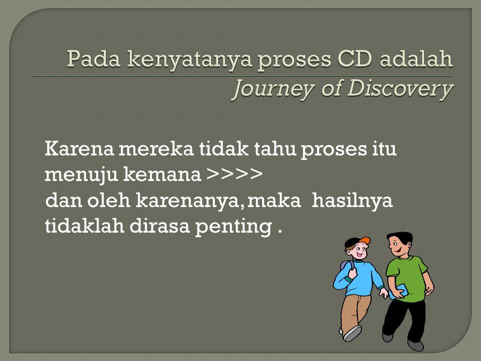 Pada kenyatanya proses CD adalah Journey of Discovery