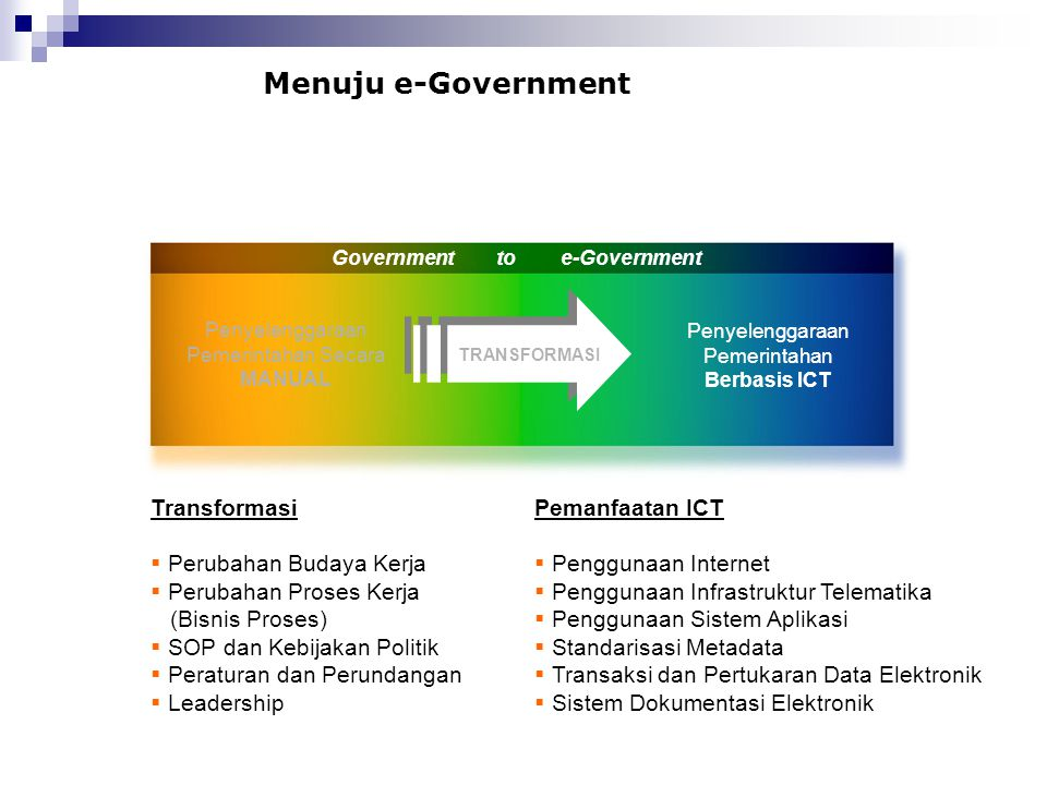 Government to e-Government