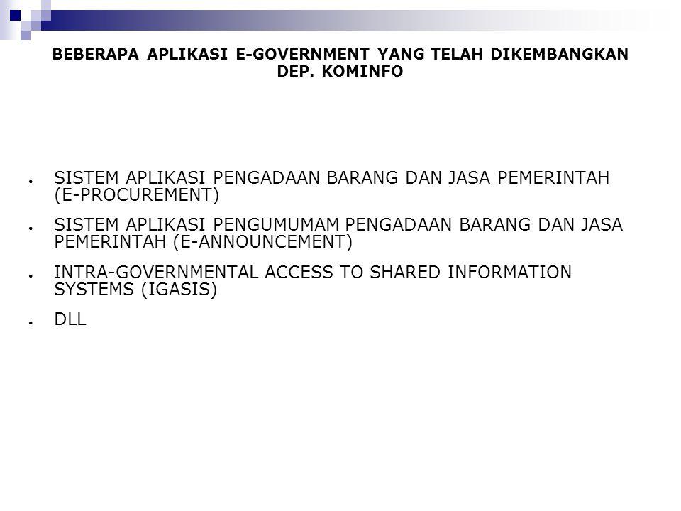 BEBERAPA APLIKASI E-GOVERNMENT YANG TELAH DIKEMBANGKAN DEP. KOMINFO