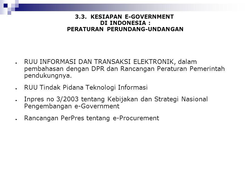 3.3. KESIAPAN E-GOVERNMENT DI INDONESIA : PERATURAN PERUNDANG-UNDANGAN