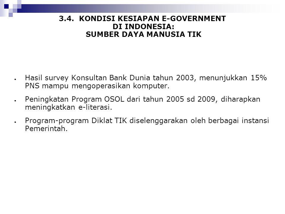 3.4. KONDISI KESIAPAN E-GOVERNMENT DI INDONESIA: SUMBER DAYA MANUSIA TIK