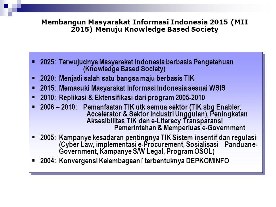 Membangun Masyarakat Informasi Indonesia 2015 (MII 2015) Menuju Knowledge Based Society