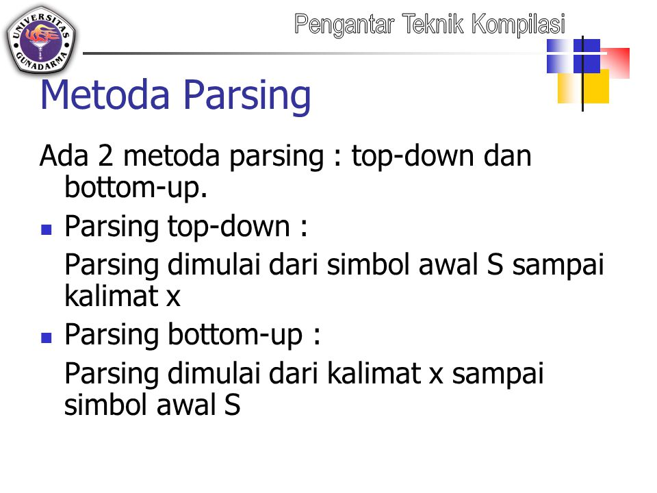 Metoda Parsing Ada 2 metoda parsing : top-down dan bottom-up.