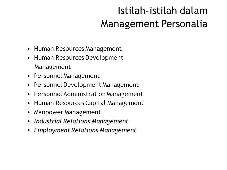 Istilah-istilah dalam Management Personalia