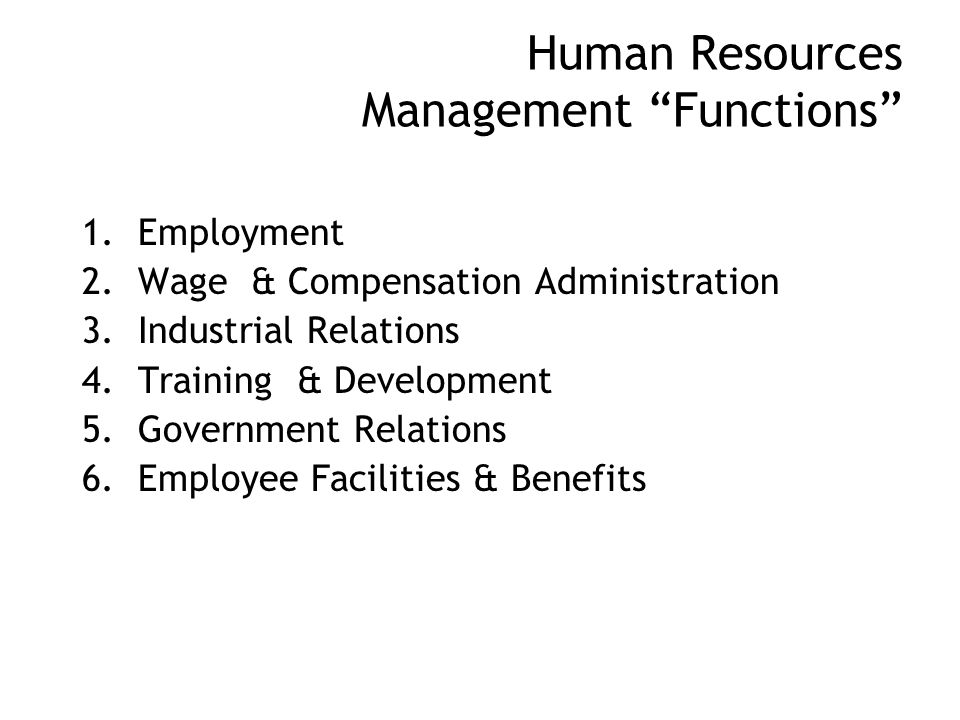 Human Resources Management Functions