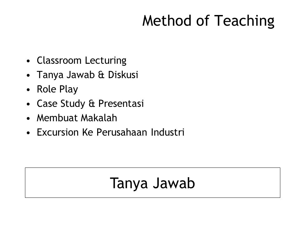 Method of Teaching Tanya Jawab Classroom Lecturing