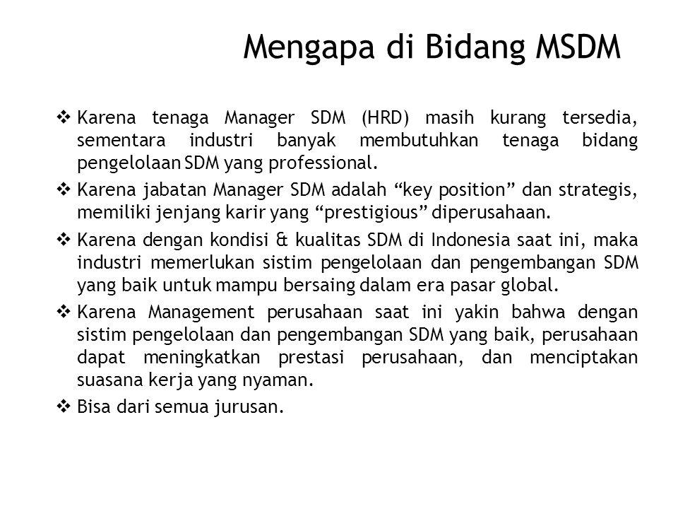 Mengapa di Bidang MSDM