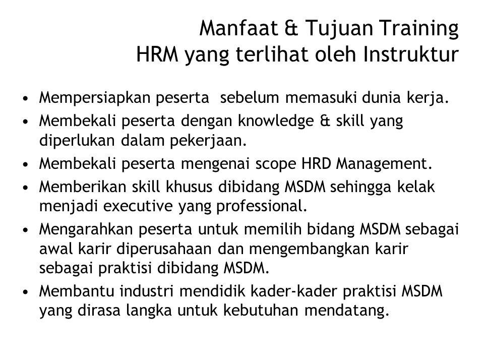 Manfaat & Tujuan Training HRM yang terlihat oleh Instruktur