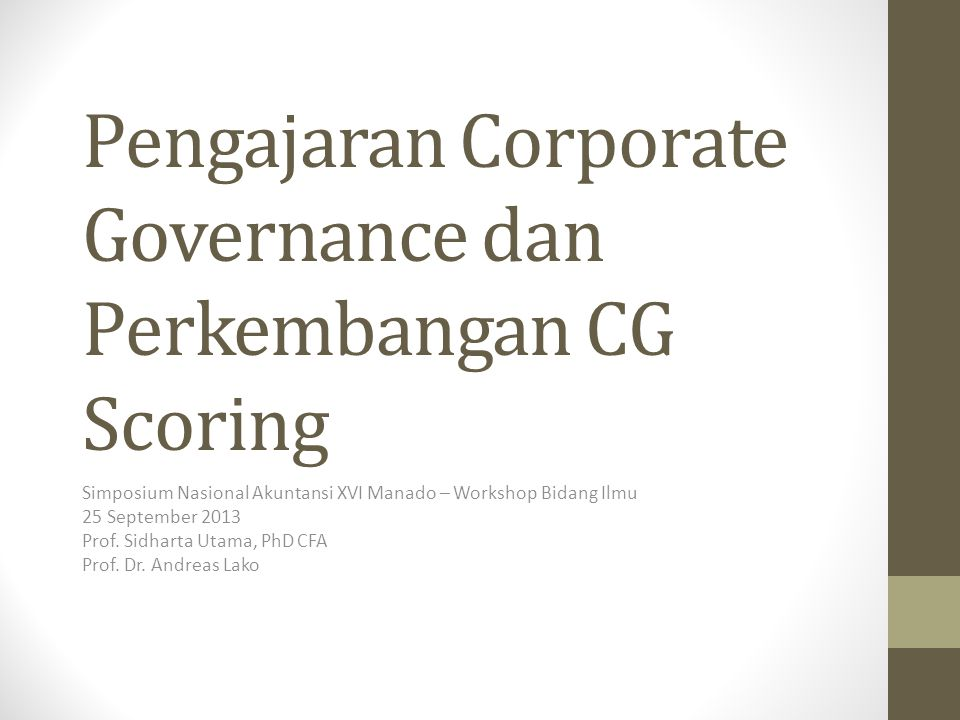 Pengajaran Corporate Governance dan Perkembangan CG Scoring