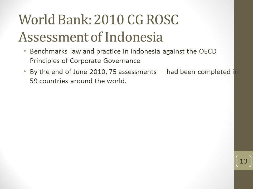 World Bank: 2010 CG ROSC Assessment of Indonesia