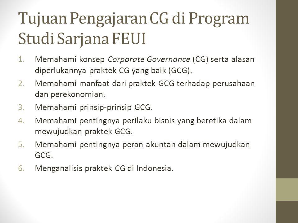 Tujuan Pengajaran CG di Program Studi Sarjana FEUI