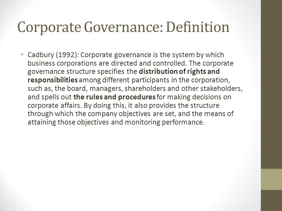 Corporate Governance: Definition