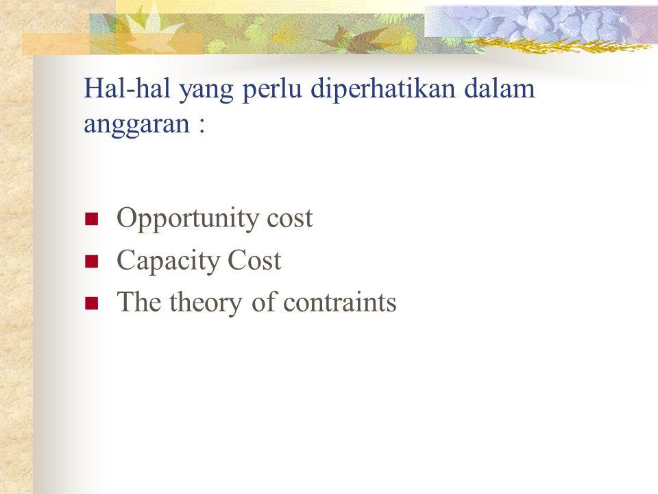 Hal-hal yang perlu diperhatikan dalam anggaran :