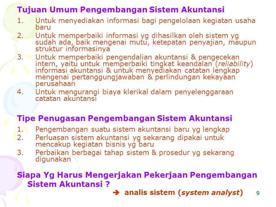 Tujuan Umum Pengembangan Sistem Akuntansi