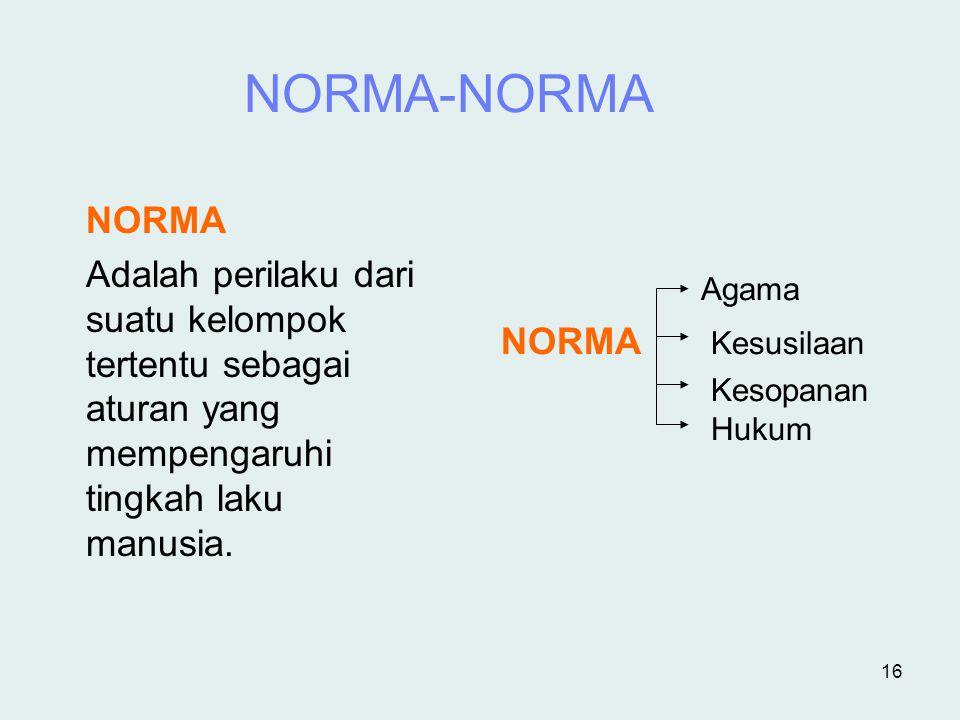 NORMA-NORMA NORMA. Adalah perilaku dari suatu kelompok tertentu sebagai aturan yang mempengaruhi tingkah laku manusia.