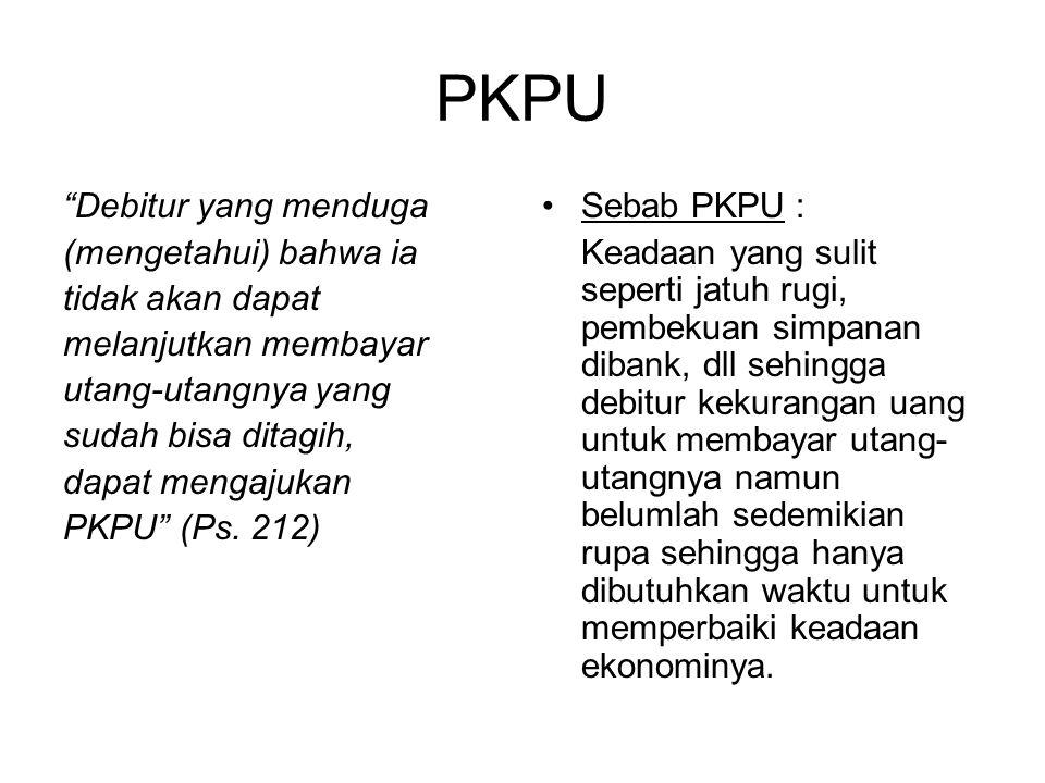 PKPU Debitur yang menduga (mengetahui) bahwa ia tidak akan dapat