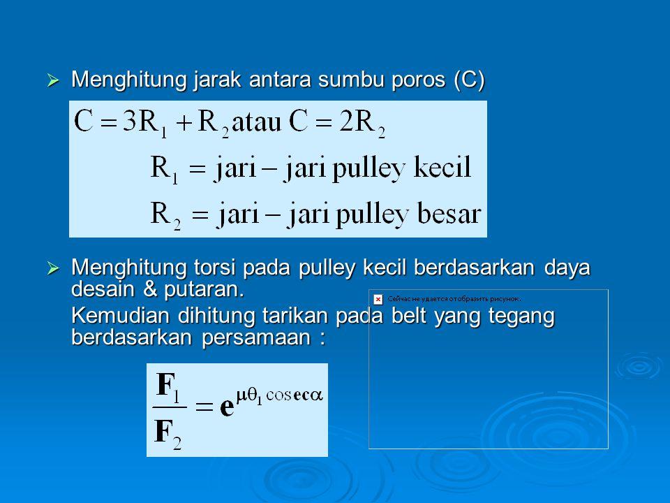 Menghitung jarak antara sumbu poros (C)
