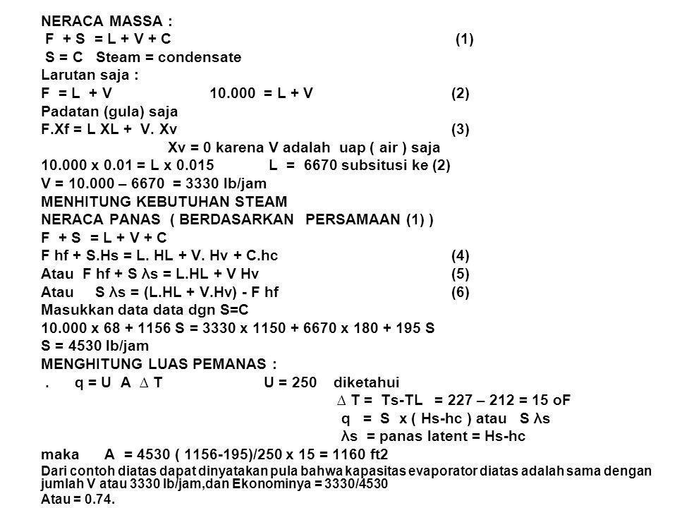 Xv = 0 karena V adalah uap ( air ) saja