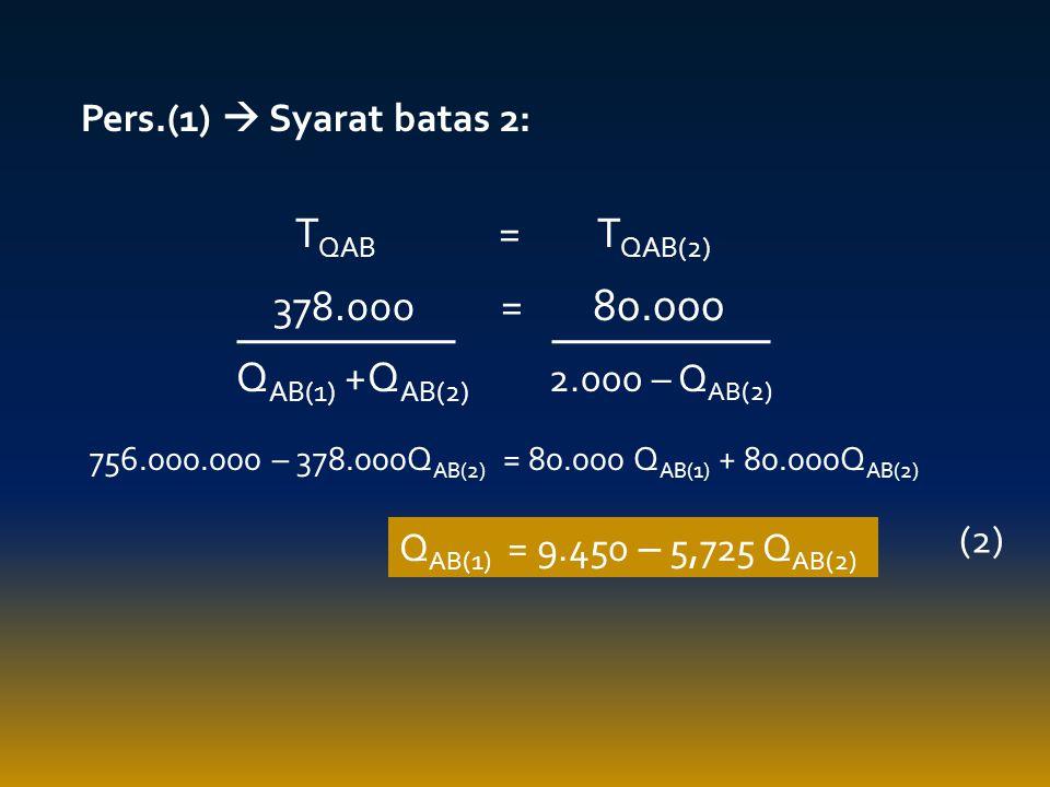 TQAB = TQAB(2) 378.000 = 80.000 QAB(1) +QAB(2) 2.000 – QAB(2)