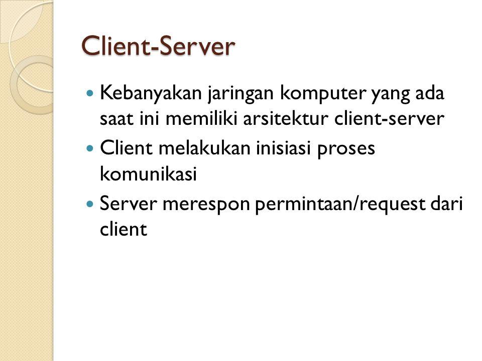 Client-Server Kebanyakan jaringan komputer yang ada saat ini memiliki arsitektur client-server. Client melakukan inisiasi proses komunikasi.