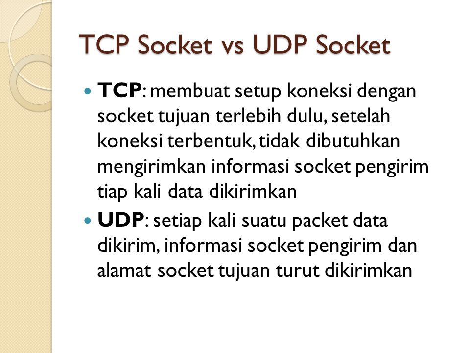 TCP Socket vs UDP Socket