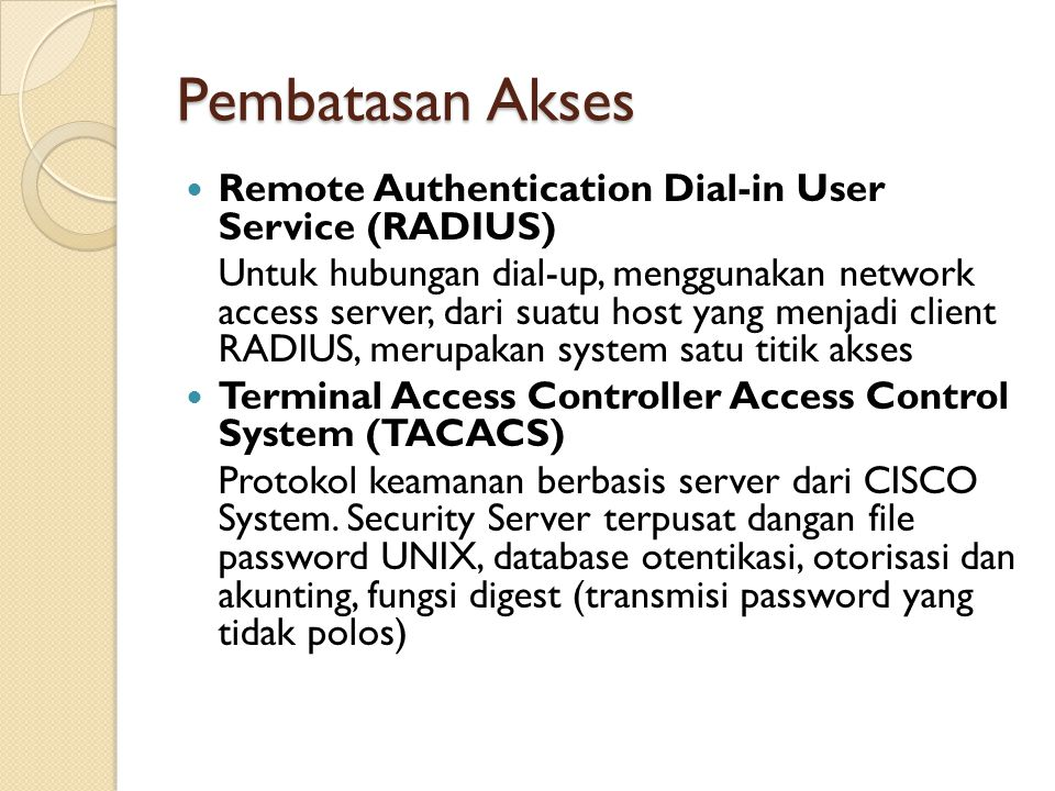 Pembatasan Akses Remote Authentication Dial-in User Service (RADIUS)