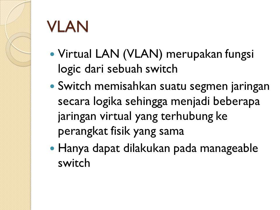 VLAN Virtual LAN (VLAN) merupakan fungsi logic dari sebuah switch