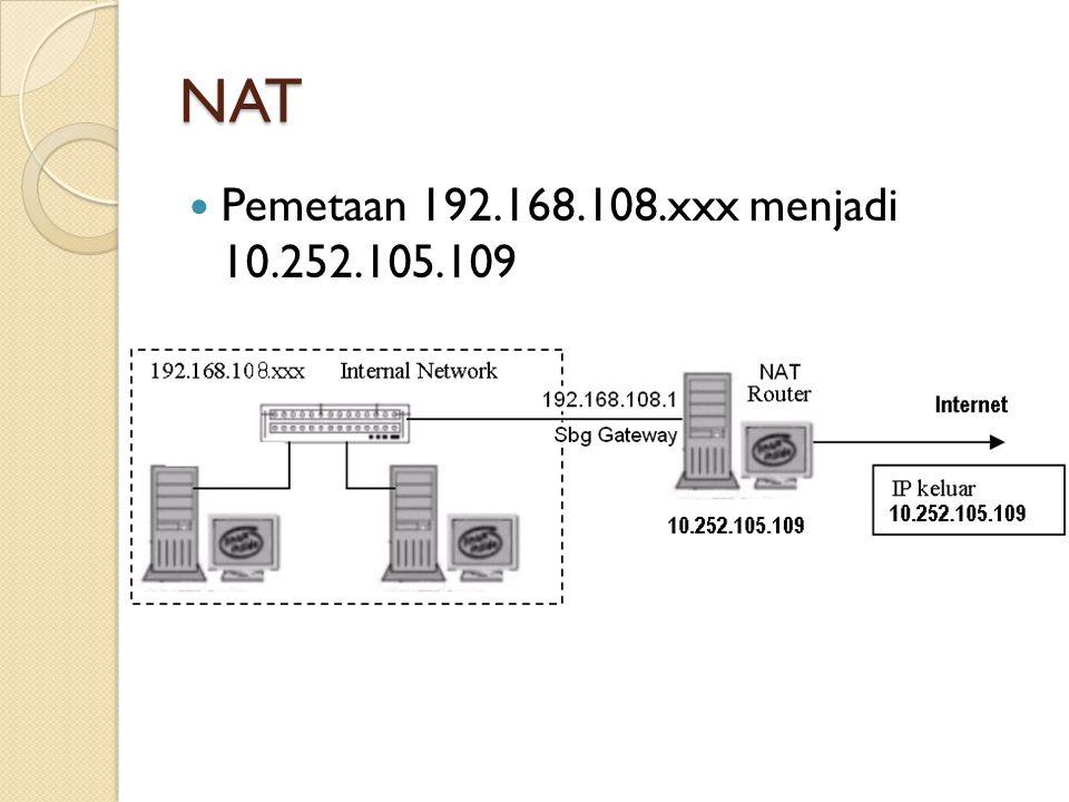 NAT Pemetaan 192.168.108.xxx menjadi 10.252.105.109