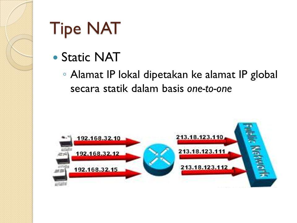 Tipe NAT Static NAT.