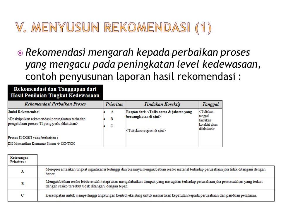 V. Menyusun rekomendasi (1)