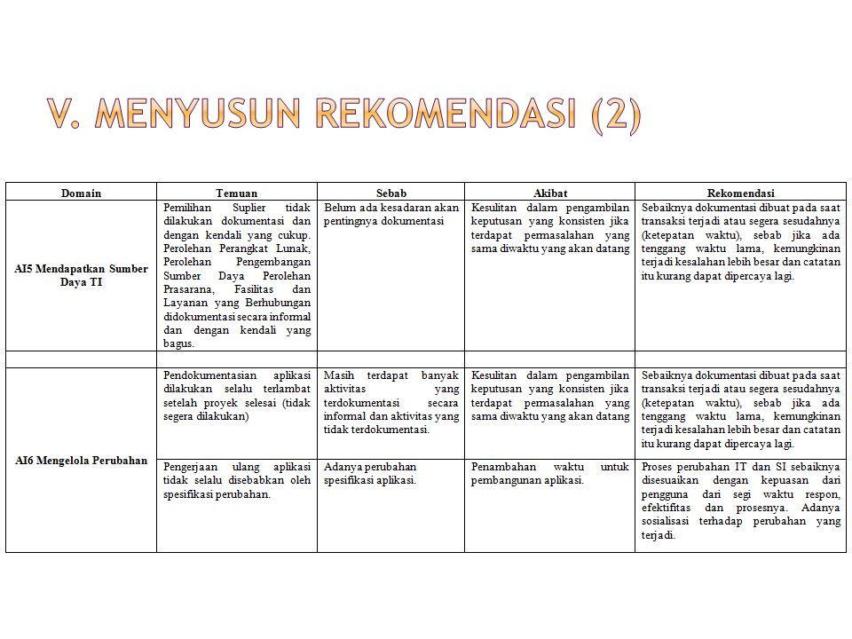 V. Menyusun rekomendasi (2)