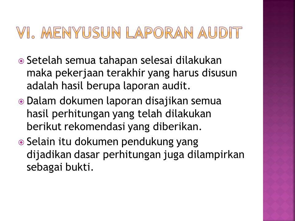 VI. Menyusun laporan audit