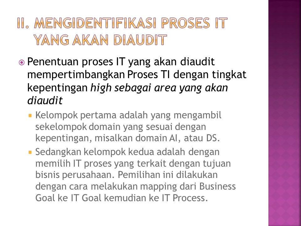 II. Mengidentifikasi proses IT yang akan diaudit