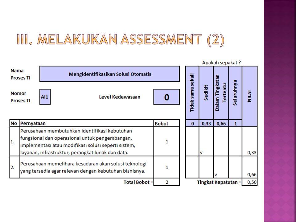 III. Melakukan assessment (2)