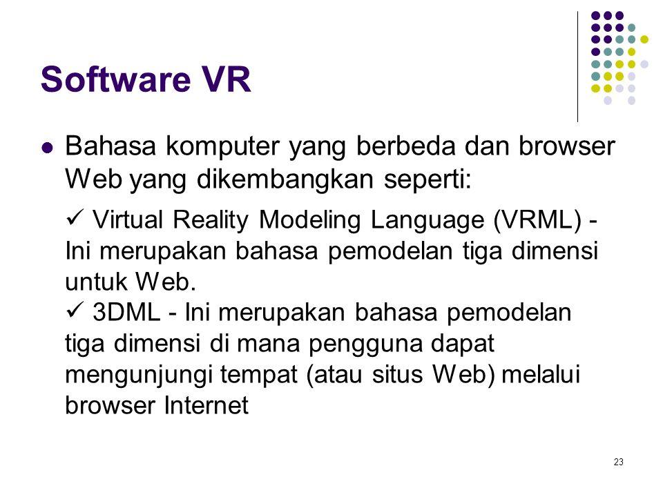 Software VR Bahasa komputer yang berbeda dan browser Web yang dikembangkan seperti: