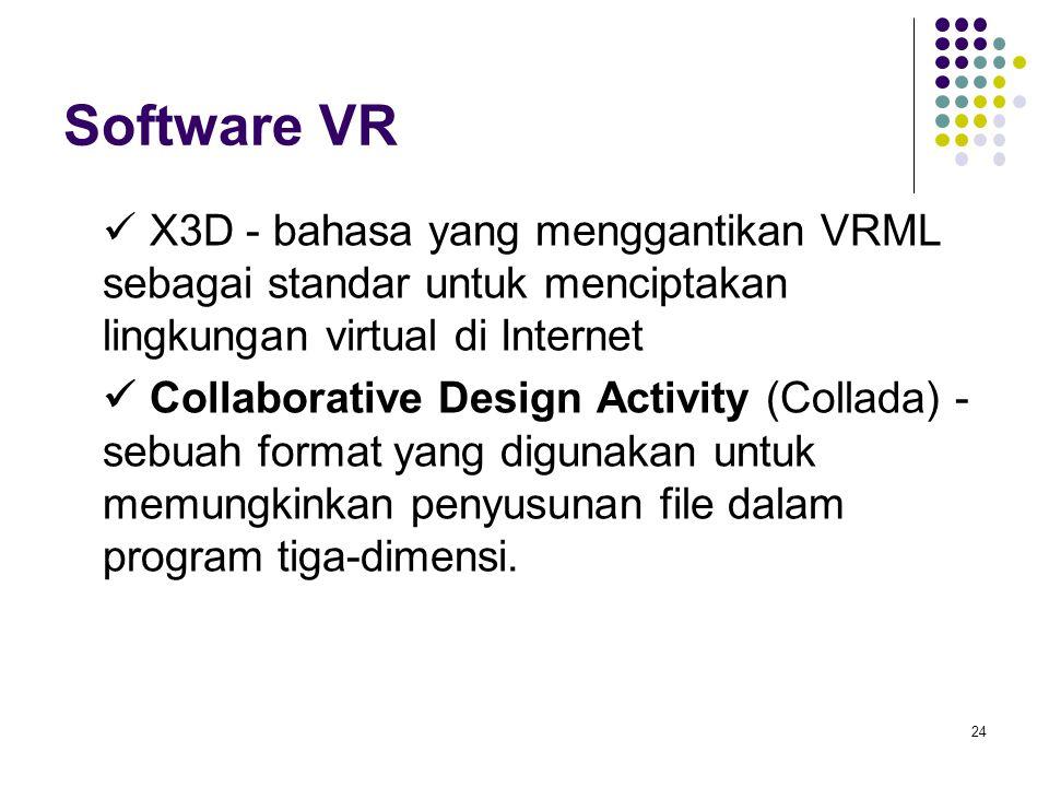 Software VR  X3D - bahasa yang menggantikan VRML sebagai standar untuk menciptakan lingkungan virtual di Internet.