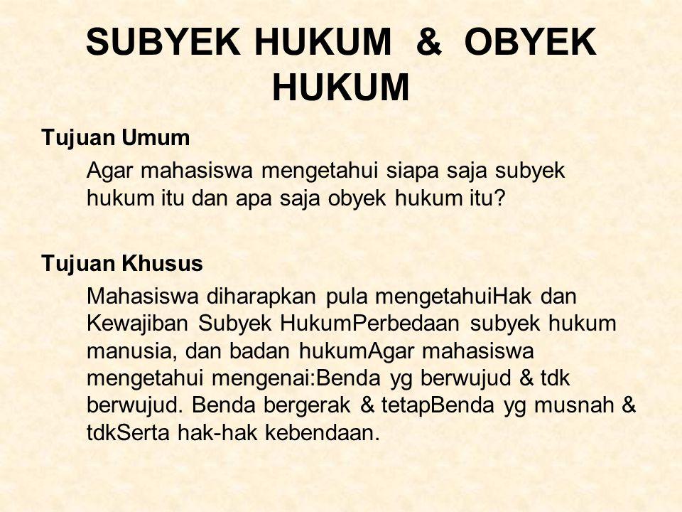 SUBYEK HUKUM & OBYEK HUKUM