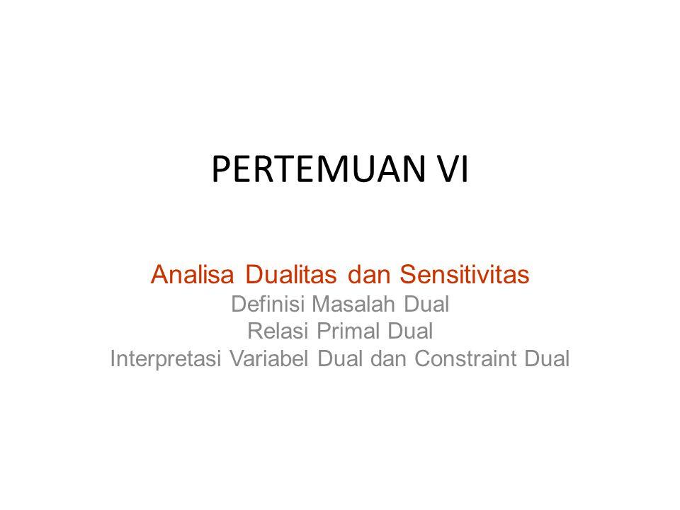PERTEMUAN VI Analisa Dualitas dan Sensitivitas Definisi Masalah Dual