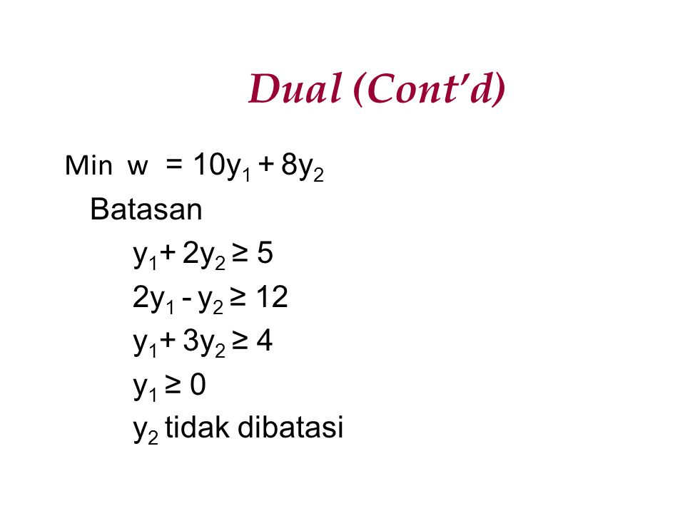 Dual (Cont'd) Min w = 10y1 + 8y2 Batasan y1+ 2y2 ≥ 5 2y1 - y2 ≥ 12 y1+ 3y2 ≥ 4 y1 ≥ 0 y2 tidak dibatasi