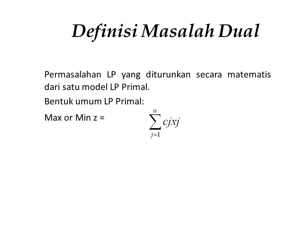 Definisi Masalah Dual Permasalahan LP yang diturunkan secara matematis dari satu model LP Primal. Bentuk umum LP Primal: