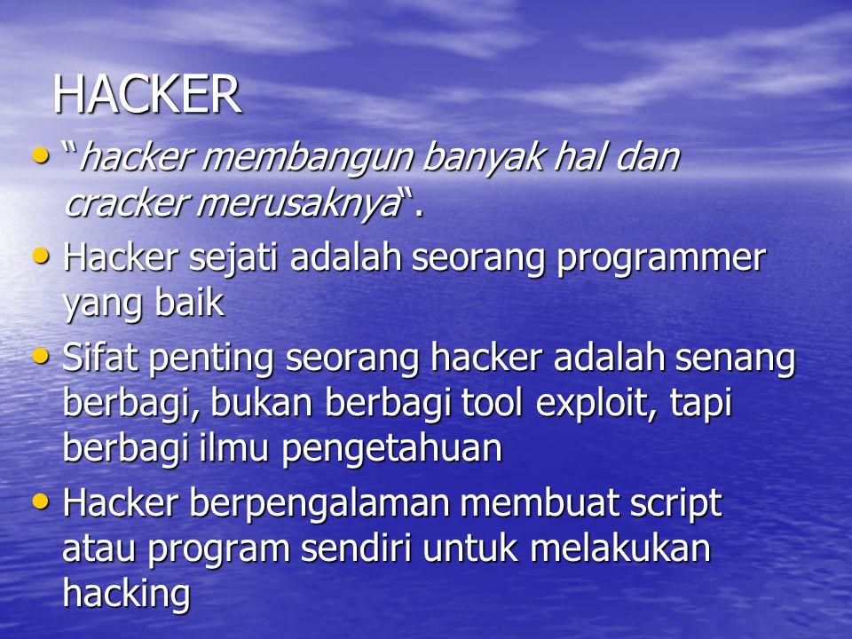 HACKER hacker membangun banyak hal dan cracker merusaknya .