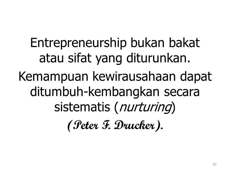 Entrepreneurship bukan bakat atau sifat yang diturunkan.