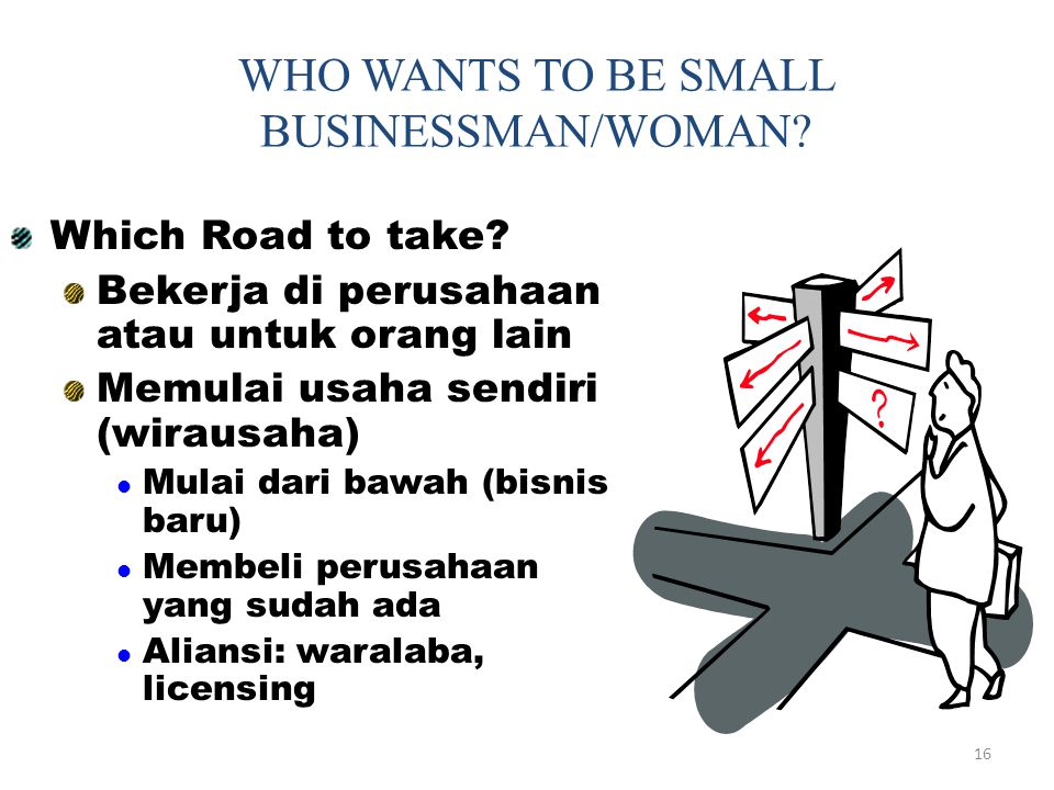 WHO WANTS TO BE SMALL BUSINESSMAN/WOMAN