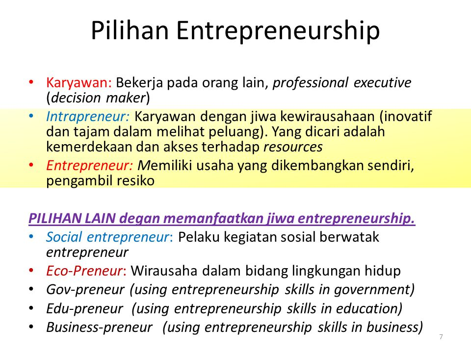 Pilihan Entrepreneurship