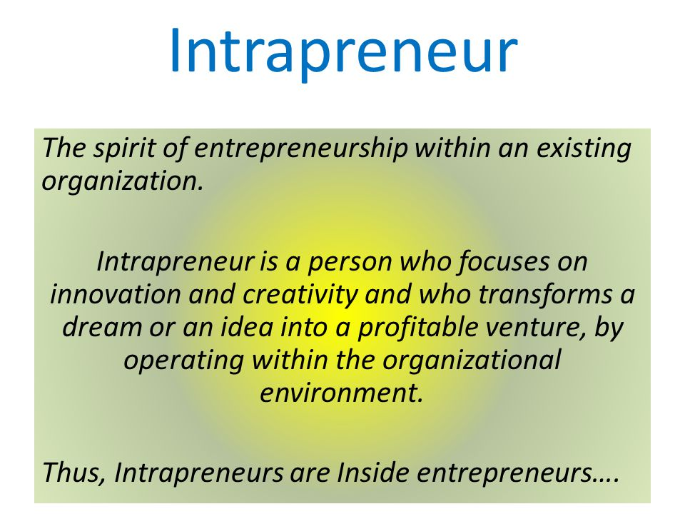 Intrapreneur The spirit of entrepreneurship within an existing organization.
