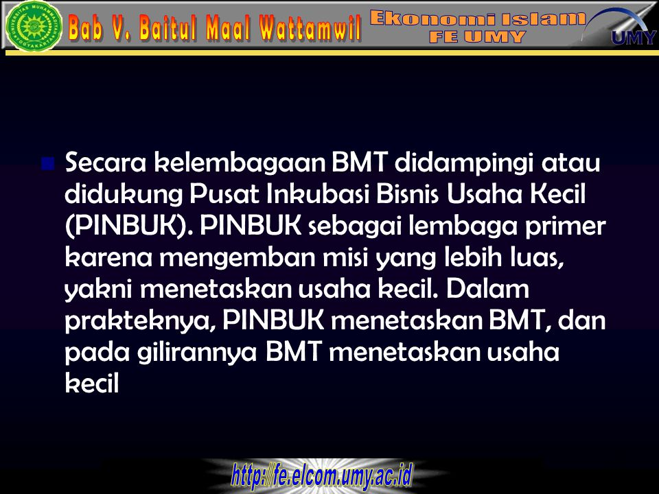 Secara kelembagaan BMT didampingi atau didukung Pusat Inkubasi Bisnis Usaha Kecil (PINBUK).