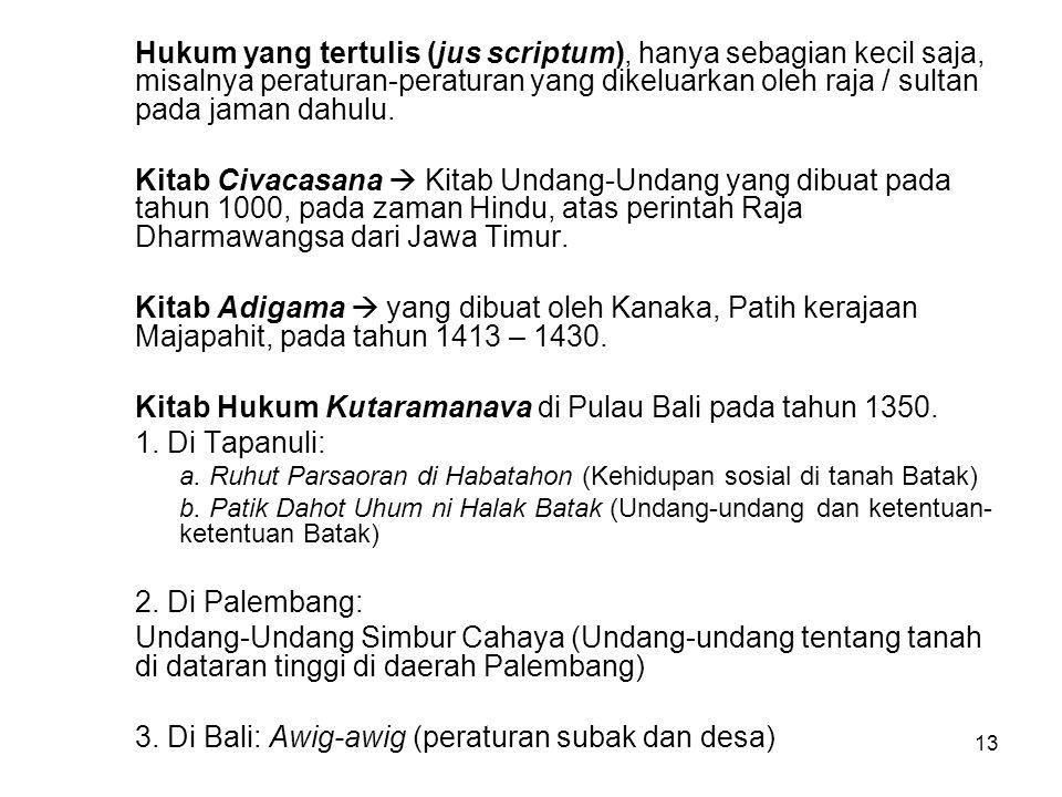 Kitab Hukum Kutaramanava di Pulau Bali pada tahun 1350.