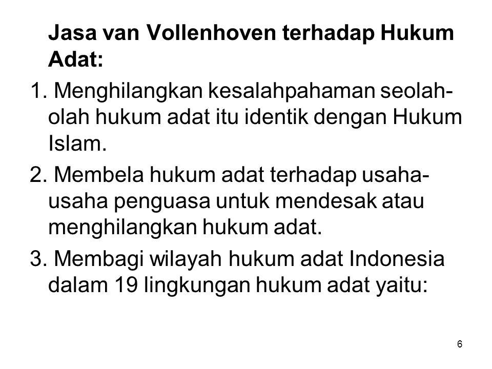 Jasa van Vollenhoven terhadap Hukum Adat: