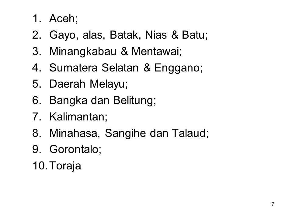 Aceh; Gayo, alas, Batak, Nias & Batu; Minangkabau & Mentawai; Sumatera Selatan & Enggano; Daerah Melayu;